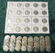 5 Rolls Of Kennedy 40 Silver Half Dollars 50 Face 14.79 Oz Asw 100 Coins