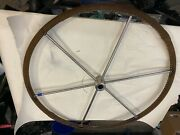 Sailboat Steering Wheel 28 Stainless Brown Leather Wrap 1 Straight Shaft. Used