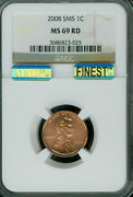 2008 Lincoln Cent Ngc Ms69 Red Pq Sms Mac Finest Grade Mac Spotless .