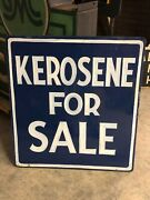Large Vintage Hand Painted Kerosene For Sale Sign Old Gas Oil Mancave Will Ship