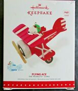 Hallmark 2015 Snoopy Flying Ace Peanuts Gang Red Baron Ornament Magic Sound New