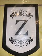 Monogram Z Large House Flag Applique 28 X 44 Double Sided New