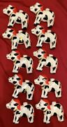 Vintage Christmas Cow Bell Tree Lights Mold Lot Of 10 Retro 50andrsquos Super Rare