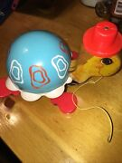Vtg 1962 Fisher Price Tip Toe Turtle 773 Pull Toy + Original Tail And Paint
