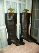 Talbots Side-zip Brown Leather Boots Womenand039s Size 7 M Made In Brazil