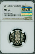 2014 New Zealand 20 Cents Ngc Ms-69 Mac Finest Grade Spotless 2000 Minted