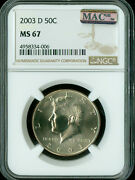 2003-d Kennedy Half Dollar Ngc Mac Ms67 Pq Only 2 Finer Rare Spotless .