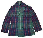 1495 Polo Mens Wool Pea Coat Jacket Green Navy Red Plaid Large