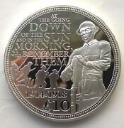 Guernsey 2014 5oz 100th Anniversary Of W.war I 10 Pounds Silver Coinproof