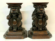 Antique Carved Walnut Stands Pair Seated Lions Holding Armorials Shelves 19th C