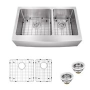32 Inch Double Bowl Apron Farmhouse Stainless Steel Kitchen Sink Model Spap6040s