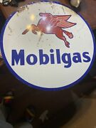 Vintage Mobil 25.5andrdquo Round Sign