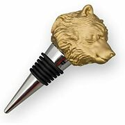 Gold Bear Metal Wine Bottle Stopper With Airtight Seal - Decorative Head Animal