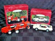 1998 Kiddie Car 5th Ed. Tractor And 1997 American Cars Lot Of 2 Hallmark Ornaments