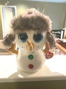 Ty Beanie Boos 9-10 Buttons The Red Hat Snowman Sold Out Christmas Seasonal