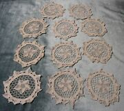 Antique 11 Needle Or Chinese Lace Goblet Rounds Or Coasters Ivory Very Elegant