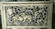 Fabulous Chinese Carved Wood Panel 18th C Qing