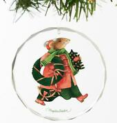 Vera The Mouse - Holiday Greenery Round Glass Ornament By Marjolein Bastin