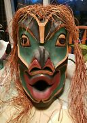 Signed Philip George Hand Carved - Sleeping Wild Woman - Native Dance Mask