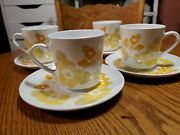 Vintage Corning Centra Summerhill Pattern Cup Saucer Set Of 4 Yellow 1960's-70's
