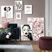 Pink Flower Perfume Fashion Lady Poster Sliver Lips Makeup Print Canvas Art Pain