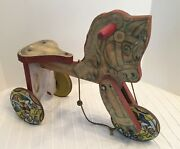 Vintage Metal Masters Toy Horse Wood Metal 1950s - Pull Riding Toy - Rare And Cool