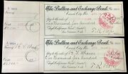 1888 The Bullion And Exchange Bank Carson City Nevada Two Paper Cashed Checks