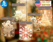 3d Hanging Led Christmas Window Lights Snowflake Indoor Holiday Decoration 5pc