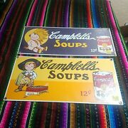 Campbelland039s Soup Can Porcelain Sign Baby Indian And Pirate 1995 Ad Ande Rooney