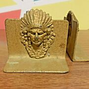 Pair Antique Cast Metal Bookends - Native American Indian Chief Headdress