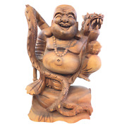 Prosperity Buddha With Dragon Statue Balinese Hand Carved Wood Sculpture Art