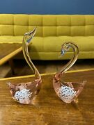 Vintage Glass Swans Pink With White Specks Lot Of 2