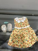 American Girl Doll Clothing Kit's Floral Print Dress With Shoes And Clip Tagged