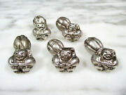 5 Antique Chinese Silver Repousse Figural Robe Button Toggles Bells Qing Period