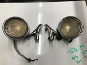 Pair Vintage Cowl W Fin Lamp Art Deco Lights 20and039s 1930and039s Chrysler Plymouth Dodge