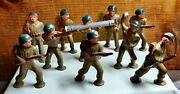 Set Of 10 Vintage Barclay Pod Foot Lead Soldiers