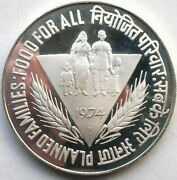 India 1974b Family F.a.o 50 Rupees Silver Coinproof