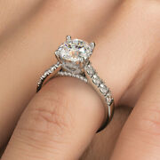 2ct Round Brilliant Cathedral Heart Shape Gallery Diamond Engagement Ring Set...
