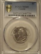 Canada George V 1930 Five Cents - Pcgs Ms-65