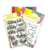 Waffle Flower Essential Sentiments Clear Stamps With Dies Bundle Combo