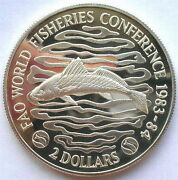 Liberia 1983 Fisher Conference 2 Dollars Piedfort Silver Coinproofrare