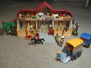 Huge Lot Playmobil Equestrian Stable 5221 Playmobil Suv Horse Trailer 5223