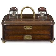 English Victorian Oak And Brass Antique Writing Desk Box W/ Inkwell, 19th Century