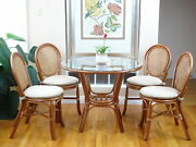 Denver Dining Set Of 4 Rattan Side Chairs And Round Table Glass, Colonial