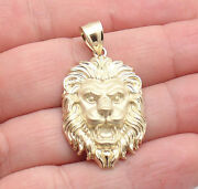Mens 3d Roaring Lion Head Charm Pendant For Chains Real Solid 10k Yellow Gold