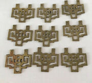 """Vintage Asian Chinese Drawer Pulls Brass Gold Tone 3"""" X 2"""" Lot 9"""