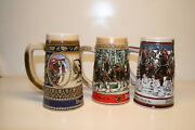 Lot Of 3 Budweiser Beer Clydesdale Holiday Christmas Stein Mug Free Shipping