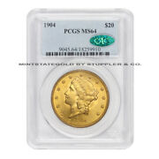 1904 20 Liberty Head Pcgs Ms64 Cac Certified Gold Double Eagle Choice Coin