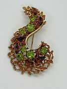 Vintage Bsk Gold Tone Emerald And Topaz Colored Faceted Rhinestone Brooch/pin