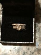 Antique Platinum Round Old Miner Cut .6 Ctw Diamond Ring And Eternity Ring Size 4
